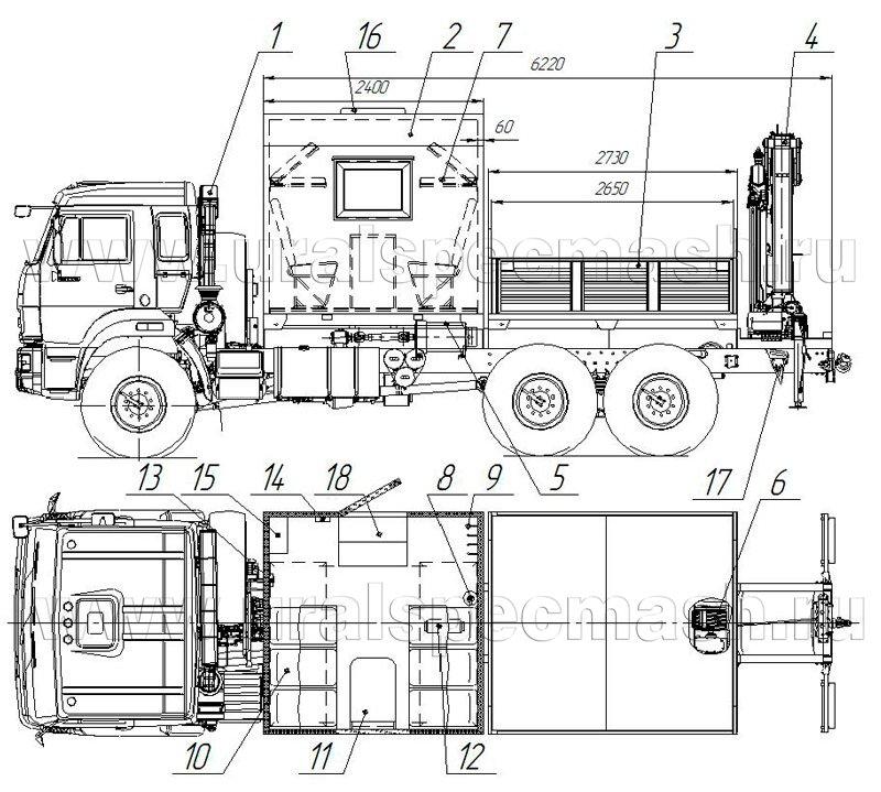 Планировка грузопассажирского автобуса Камаз 43118-3178-RF с КМУ АНТ 8.5-2