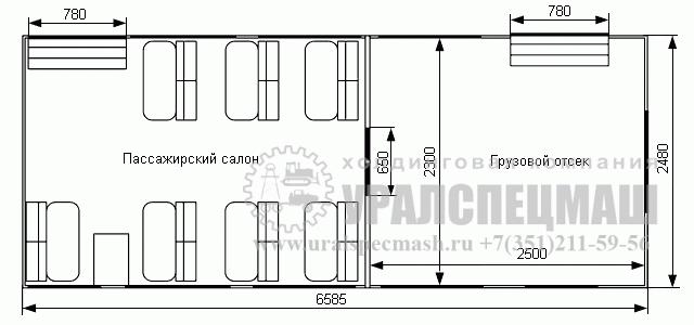 Планировка грузопассажирского автомобиля ГПА Урал 3255-0011-59