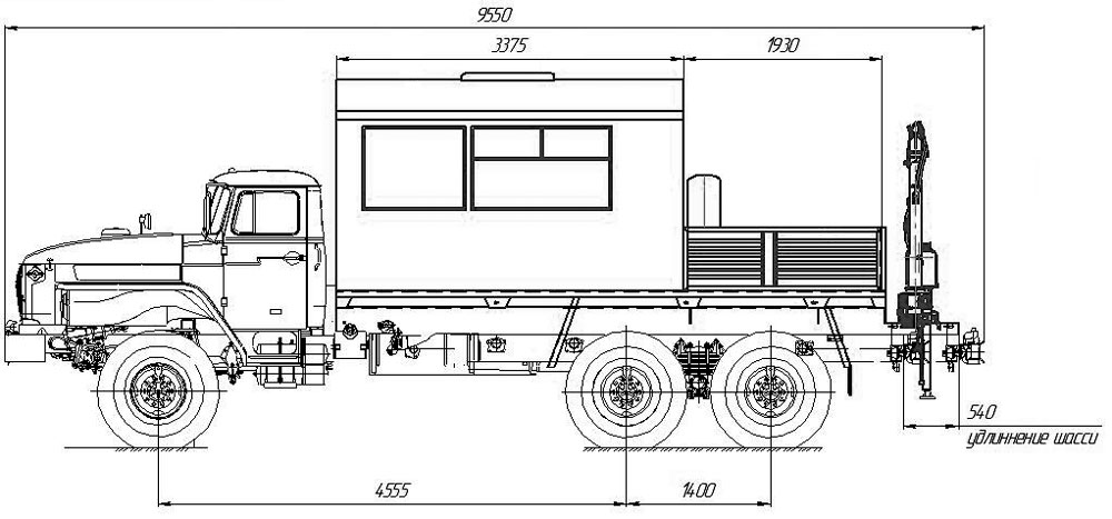 Габаритные размеры ГПА Урал 4320-1912-72Е5 с КМУ АНТ 1.8-2 (002)