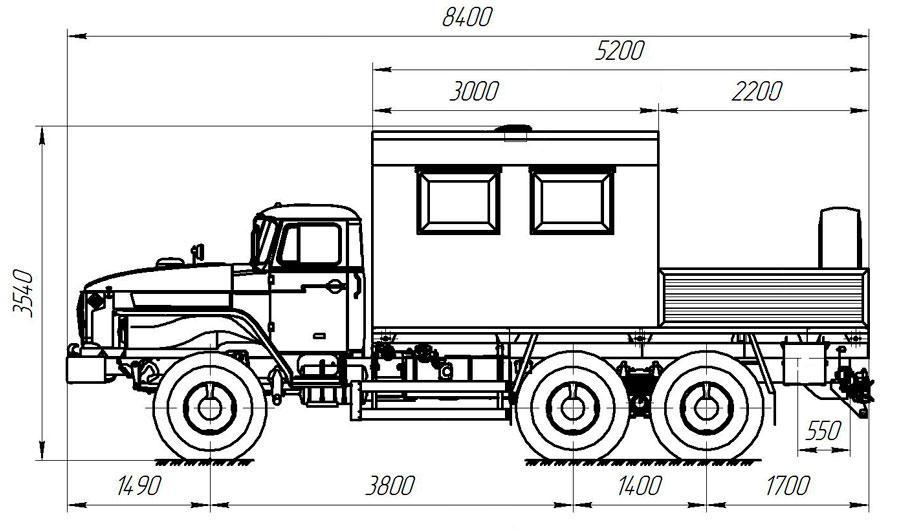 Габаритный чертеж грузопассажирского автобуса  Урал 4320-1112-61Е5 (010)