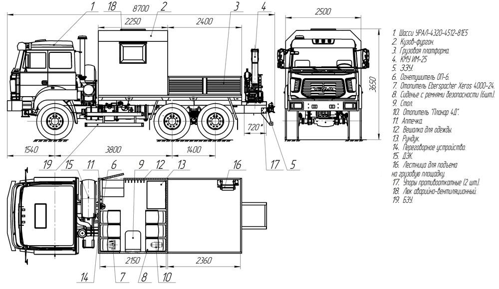 Планировка грузопассажирского автобуса ГПА Урал 4320-4512-81Е5 с КМУ ИМ-25