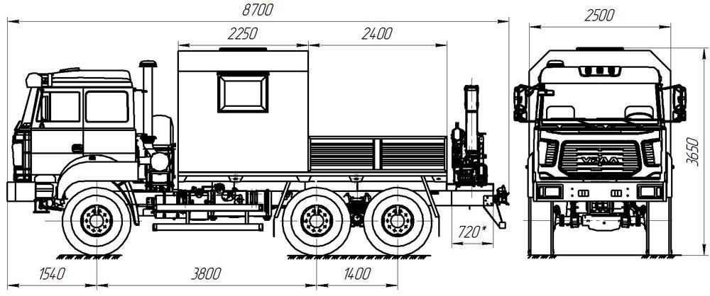Габаритный чертеж грузопассажирского автобуса ГПА Урал 4320-4512-81Е5 с КМУ ИМ-25