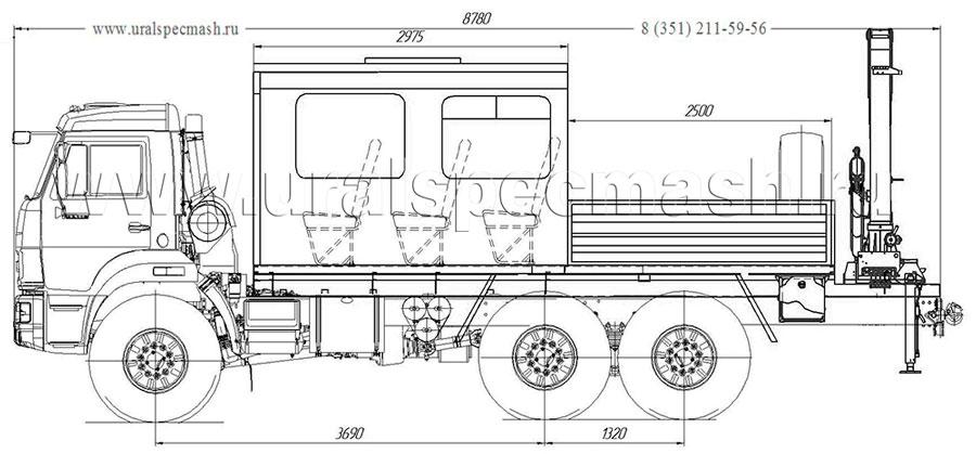 Габаритный чертеж грузопассажирского автобуса на шасси Камаз 5350-3014-66(D5) с КМУ АНТ 4.4-1