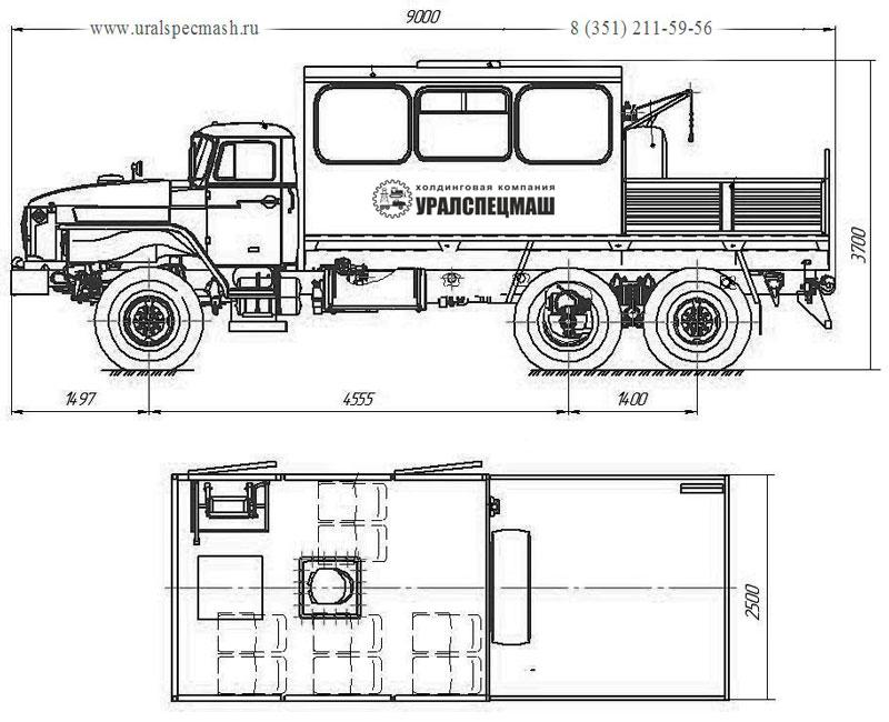 Габаритный чертеж грузопассажирского автобуса ГПА на шасси Урал 4320-1912-60Е5 - 8 мест