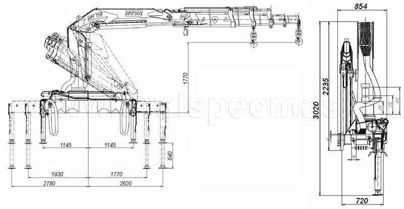 Габаритный чертеж крано-манипуляторной установки ИМ-150-04