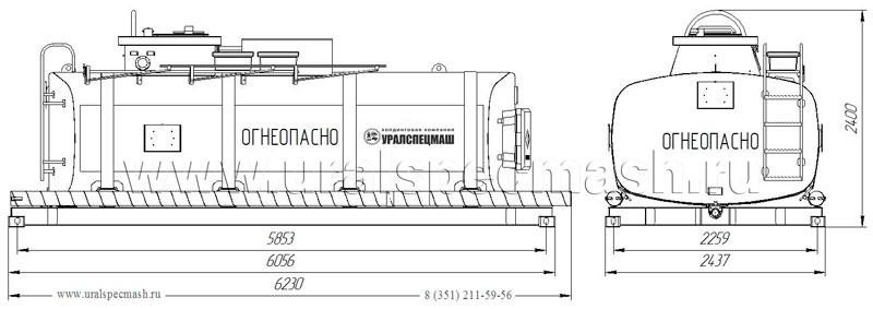 Габаритный чертеж навески контейнера-цистерны КЦ-15
