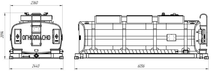 Габаритный чертеж навески контейнер-цистерны КЦ-17