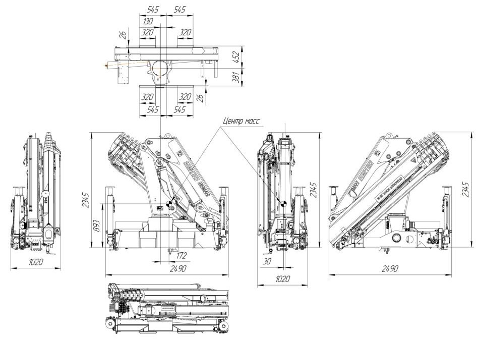 Габаритный чертеж крано-манипуляторной установки ИМ-180-5