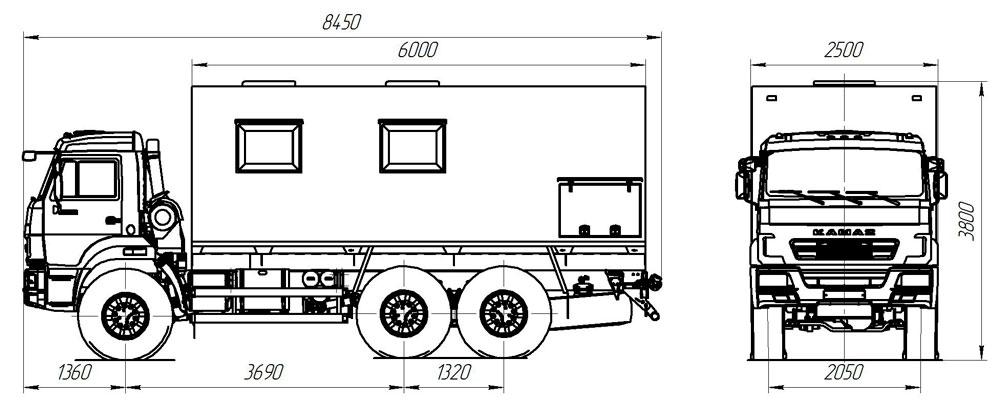 Габаритный чертеж передвижной лаборатории на шасси Камаз 43118-3017-50