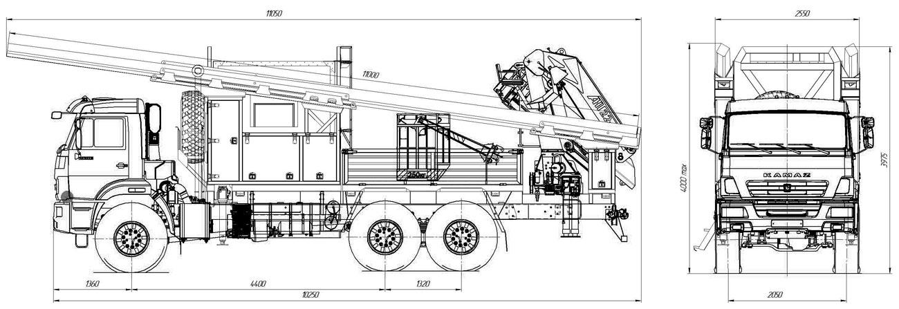 Габаритный чертеж многофункционального автомобиля МАРС на шасси Камаз 43118 с КМУ