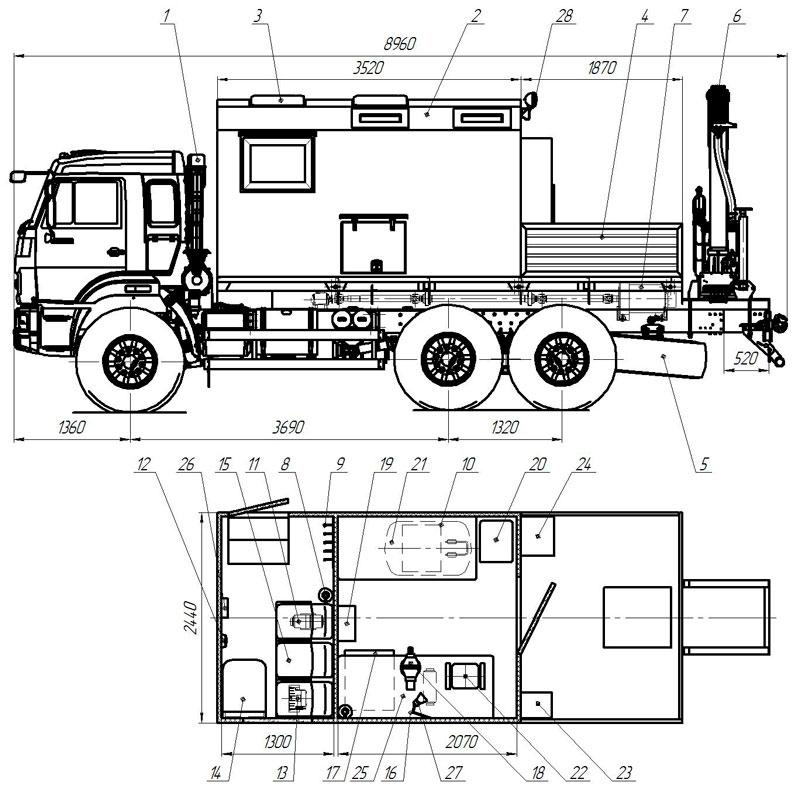 Планировка передвижной мастерской Камаз 43118-013-10
