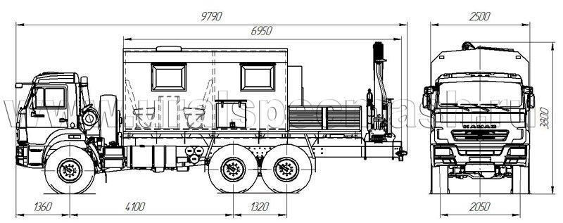 Габаритный чертеж передвижной мастерской на шасси Камаз 43118-3067-42 с КМУ ИМ-50