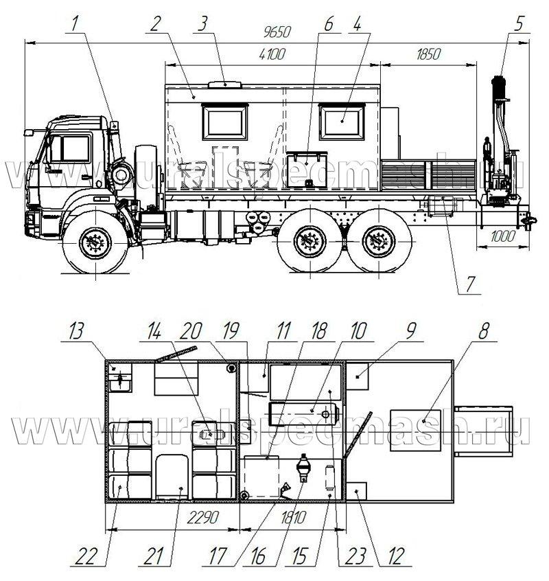 Планировка передвижной мастерской на шасси Камаз 43118-3067-42 с КМУ ИМ-50