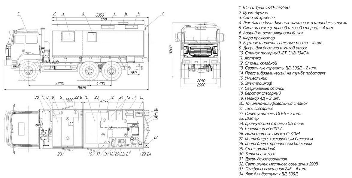 Планировка передвижной мастерской на шасси Урал 4320-4972-80М (6 мест)