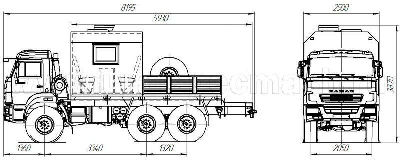 Габаритный чертеж грузопассажирского автомобиля Камаз 5350-3054-66(D5)