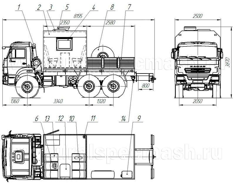 Планировка грузопассажирского автомобиля Камаз 5350-3054-66(D5)