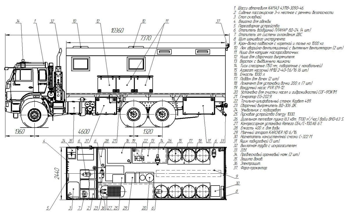 Планировка передвижной мастерской в комплектации Маслостанция на шасси Камаз 43118-3090-50