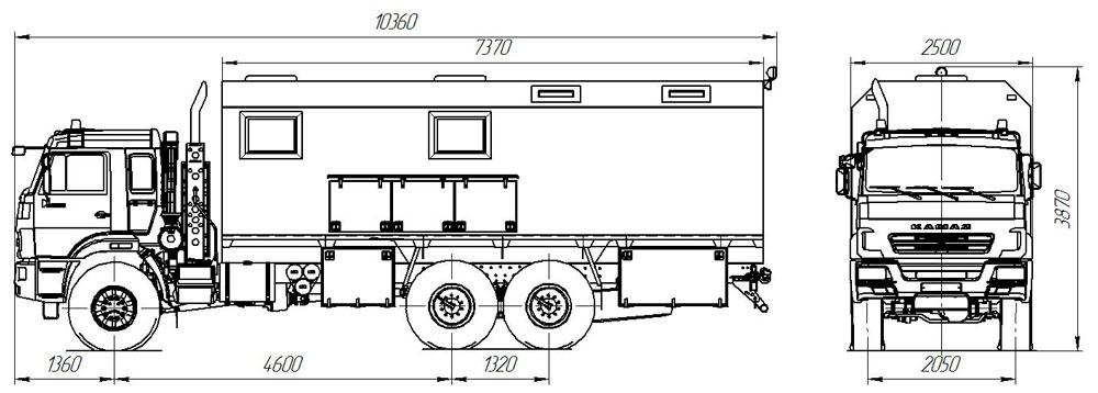 Габаритный чертеж передвижной мастерской в комплектации Маслостанция на шасси Камаз 43118-3090-50