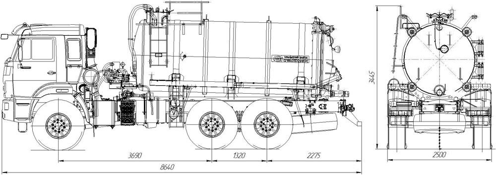 Габаритный чертеж вакуумной машины МВ-10 Камаз 43118-3027-50