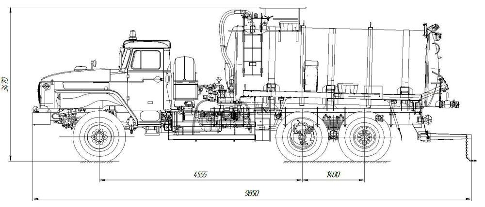 Габаритный чертеж вакуумной машины МВ-10 Урал 4320-1912-60Е5