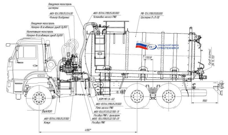 Габаритный чертеж вакуумной машины 65111-3090-50 с ОД