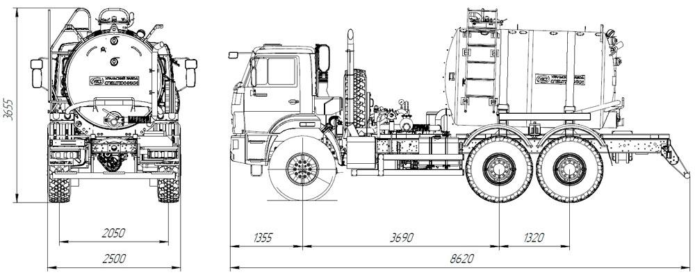 Габаритный чертеж вакуумной машины МВ-6,5 Камаз 43118-3011-50