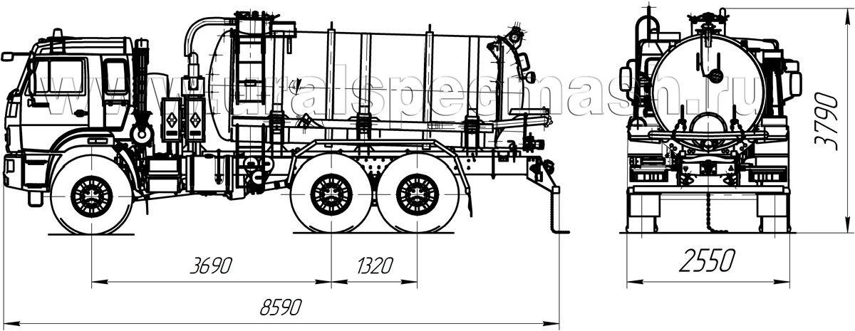 Габаритный чертеж вакуумной автоцистерны МВ-10 Камаз 43118-3049-50
