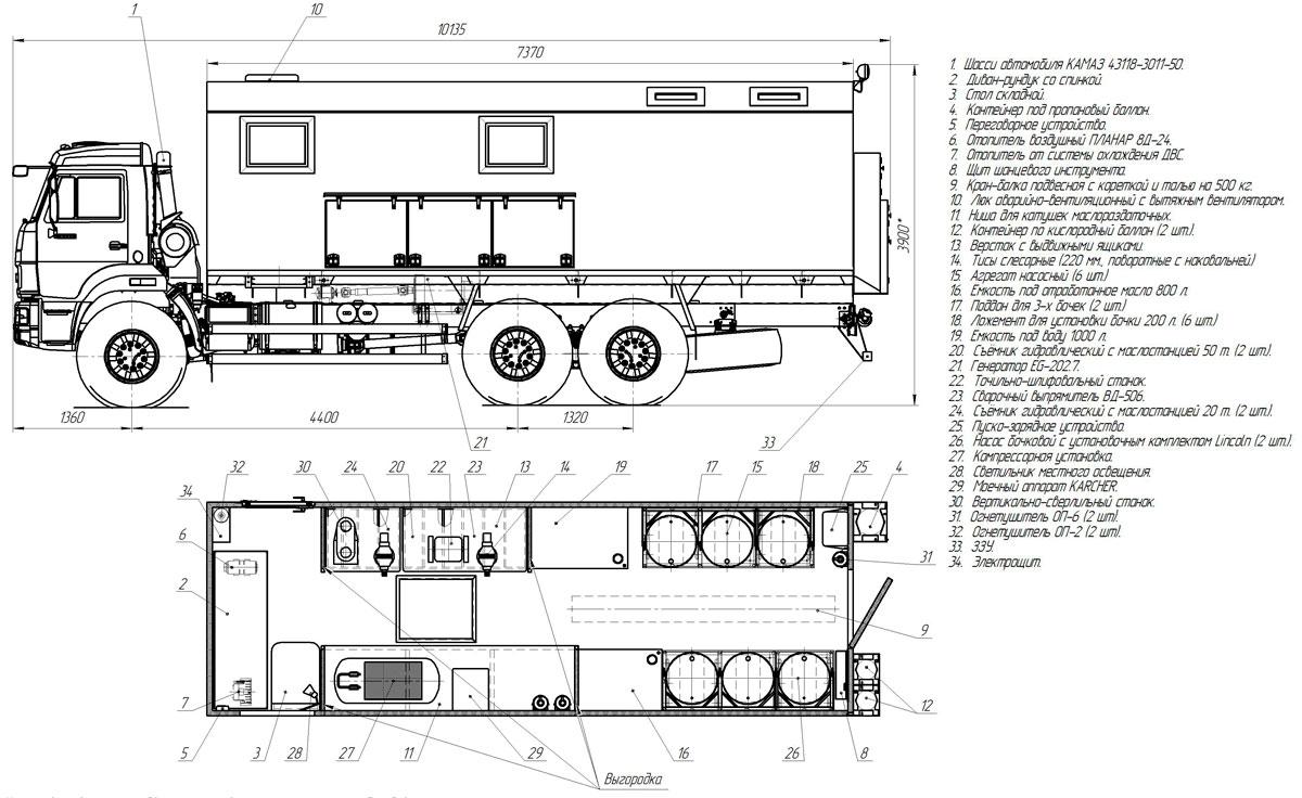 Планировка передвижной маслостанции Камаз 43118-3027-50 (001)