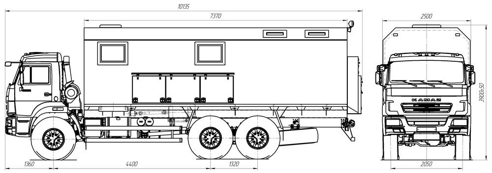 Габаритный чертеж передвижной маслостанции Камаз 43118-3027-50 (001)