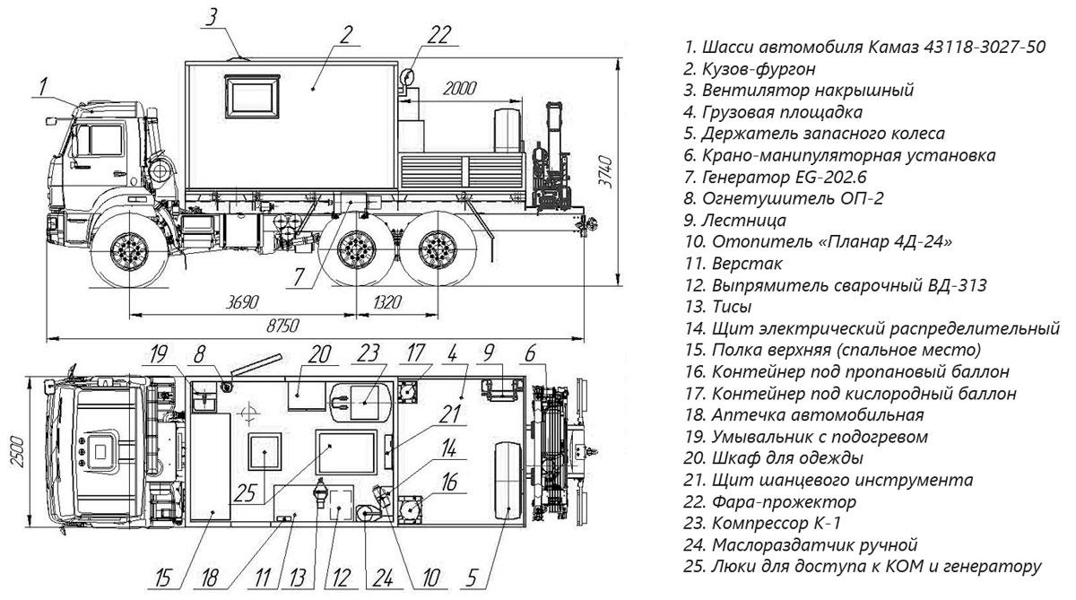 Планировка передвижной мастерской Камаз 43118-3027-50 с КМУ АНТ 5-2