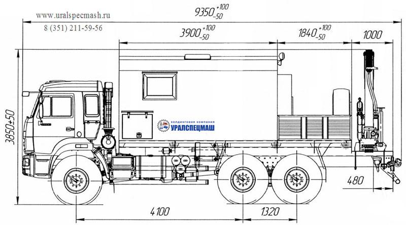 Габаритный черте передвижной мастерской ПАРМ на шасси Камаз 43118-3086-50 с КМУ ИМ-95 (005)