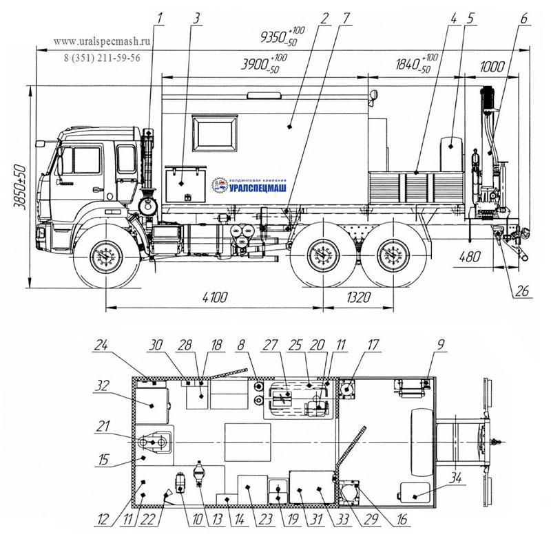 Планировка передвижной мастерской ПАРМ на шасси Камаз 43118-3086-50 с КМУ ИМ-95 (005)