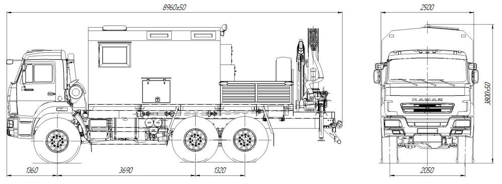 Габаритный чертеж передвижной мастерской ПАРМ Камаз 43118-3027-50 с КМУ АНТ 12-2 (017)