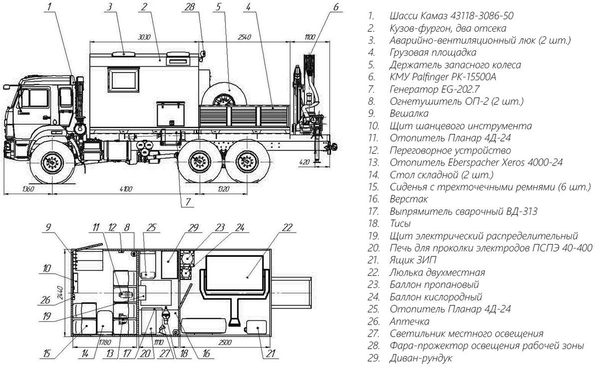 Планировка передвижной мастерской ПАРМ Камаз 43118-3086-50 с КМУ Palfinger PK-15500A