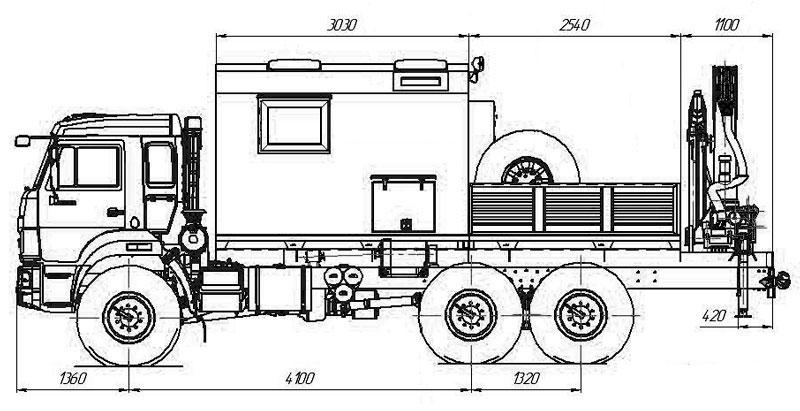 Габаритный чертеж передвижной мастерской ПАРМ Камаз 43118-3086-50 с КМУ Palfinger PK-15500A