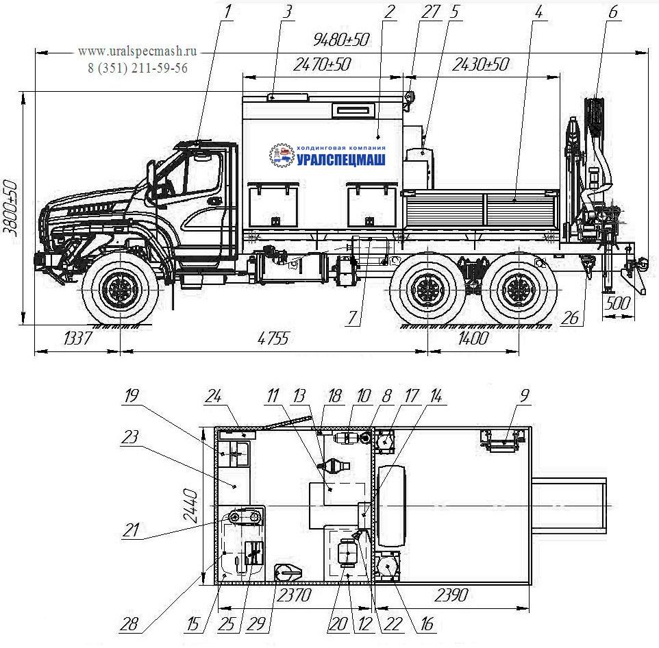 Планировка передвижной мастерской Урал-NEXT 4320-6952-72Е5Г38 с КМУ ИМ-150