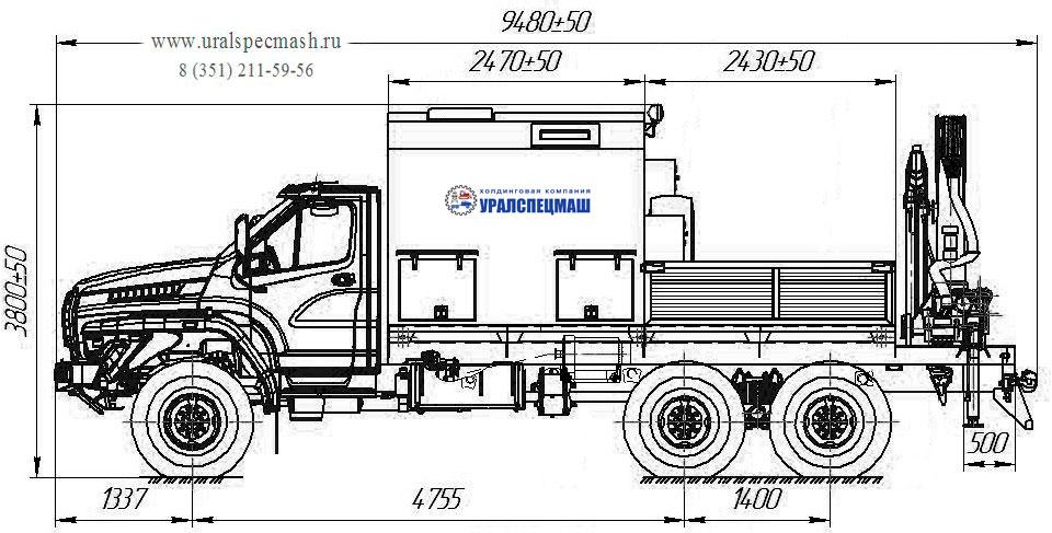 Габаритный чертеж передвижной мастерской Урал-NEXT 4320-6952-72Е5Г38 с КМУ ИМ-150