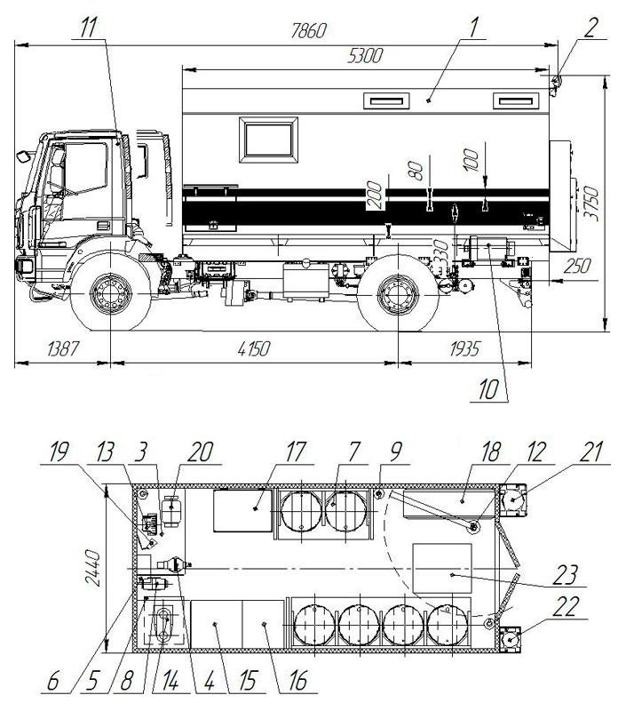 Планировка передвижной мастерской ПАРМ Iveco Eurocargo MLL150E28W
