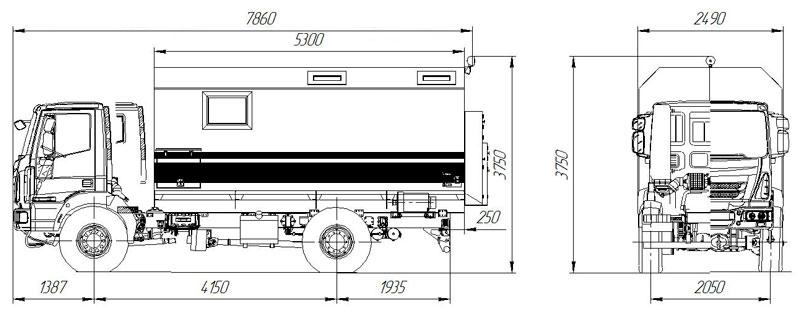 Габаритный чертеж передвижной мастерской ПАРМ Iveco Eurocargo MLL150E28W
