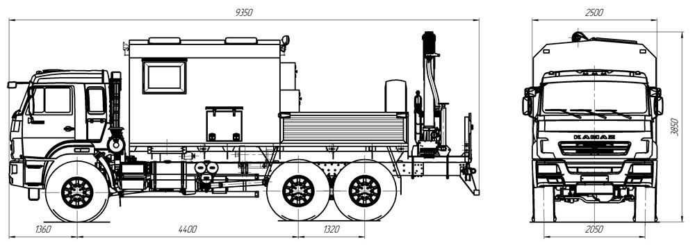 Габаритный чертеж передвижной мастерской ПАРМ Камаз 43118-3059-46 с КМУ АНТ 4.4-1 (018)