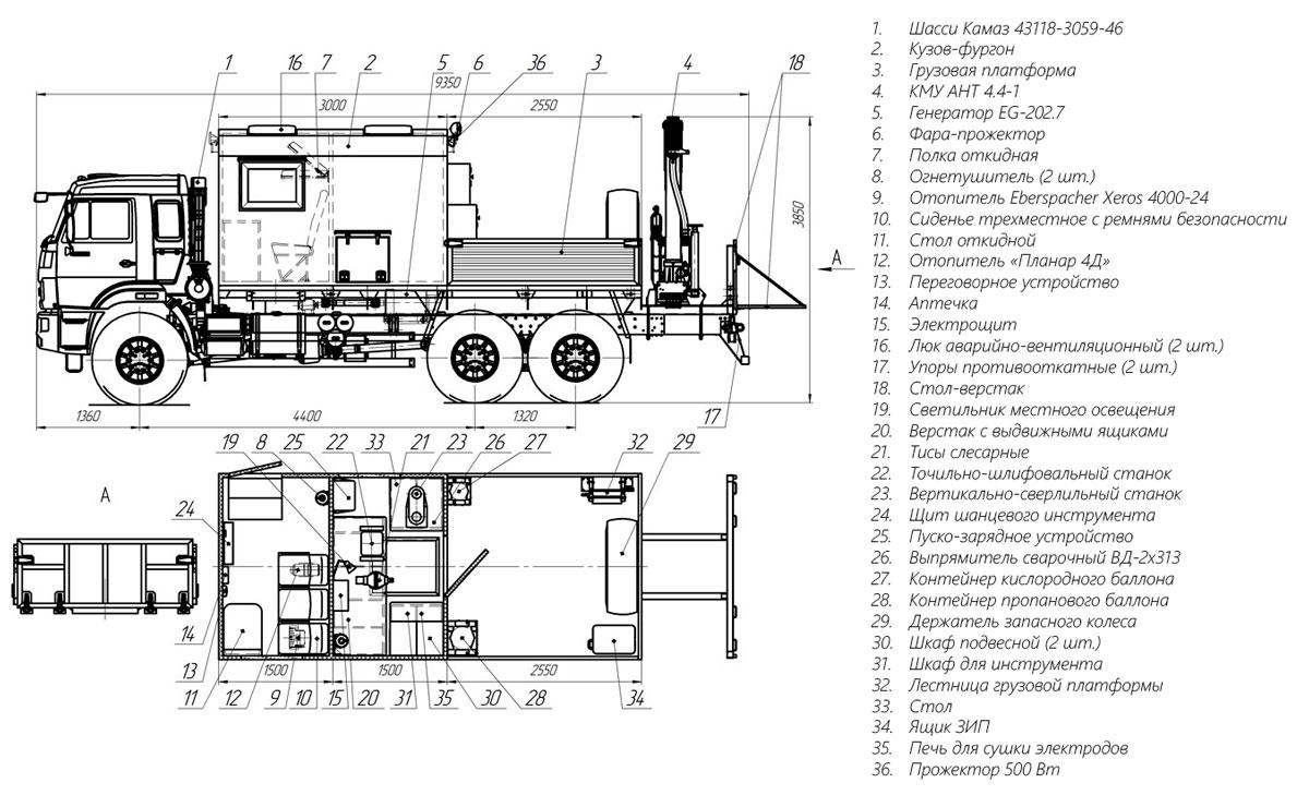 Планировка передвижной мастерской ПАРМ Камаз 43118-3059-46 с КМУ АНТ 4.4-1 (018)