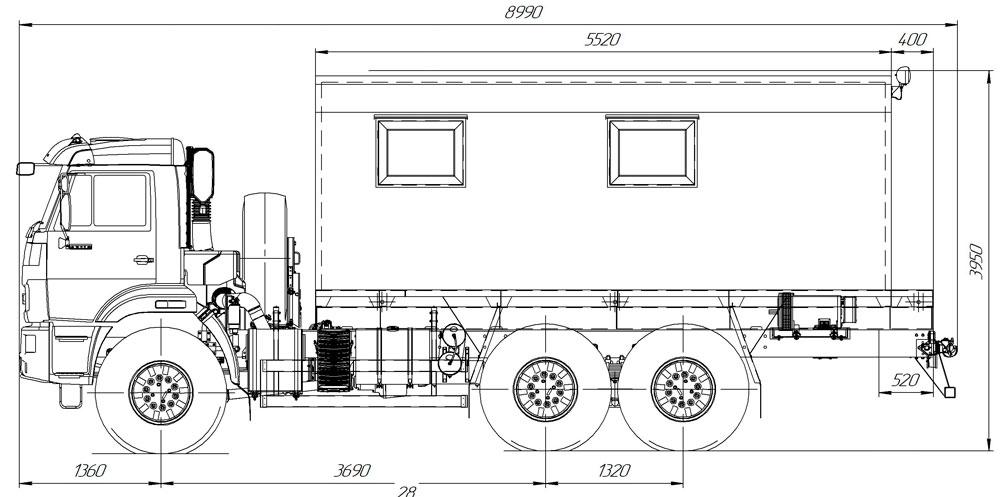 Габаритный чертеж передвижной мастерской на шасси Камаз 43118-3017-50