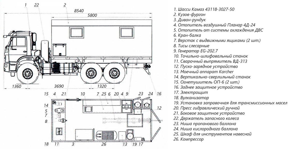 Планировка передвижной мастерской ПАРМ Камаз 43118-3027-50 (006)