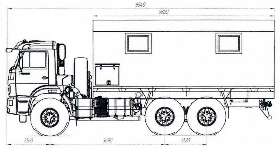 Габаритный чертеж передвижной мастерской ПАРМ Камаз 43118-3027-50 (006)