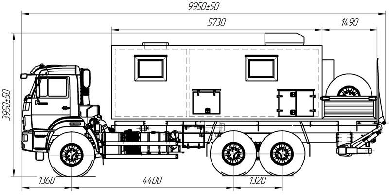 Габаритный чертеж передвижной мастерской Камаз 43118-3027-50 с гидробортом