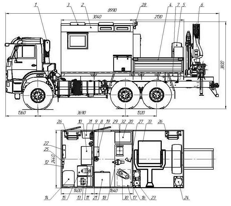 Планировка передвижной мастерской ПАРМ Камаз 43118-3027-50 с КМУ ИМ-150 (019)