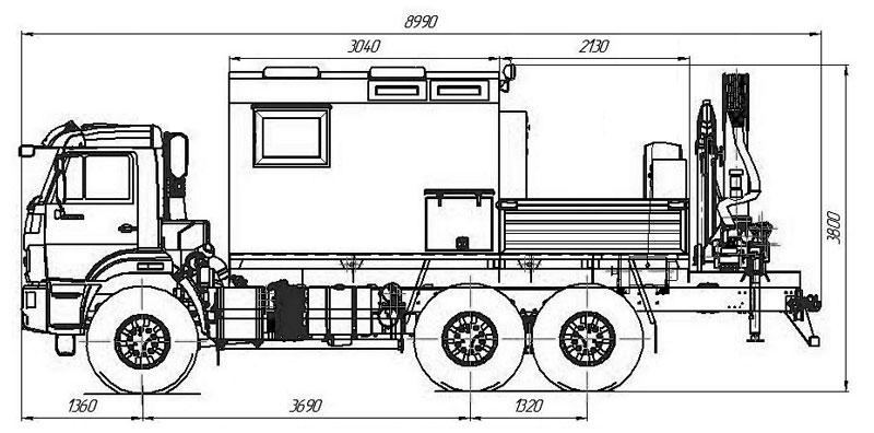 Габаритный чертеж передвижной мастерской ПАРМ Камаз 43118-3027-50 с КМУ ИМ-150 (019)