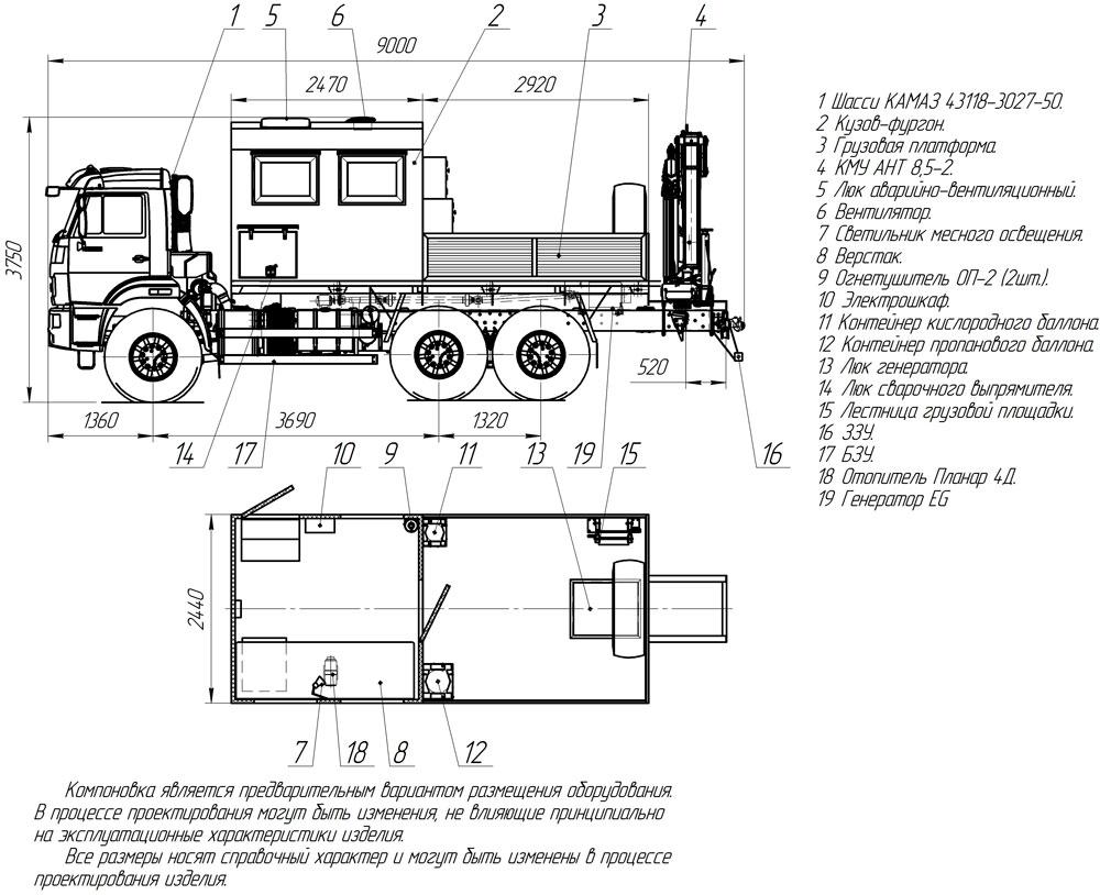 Планировка передвижной мастерской ПАРМ Камаз 43118-3027-50 с КМУ АНТ 8.5-2