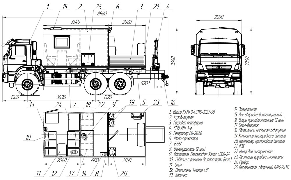 Планировка мастерской ПАРМ Камаз 43118-3027-50 с КМУ АНТ 1.8-2 (026)