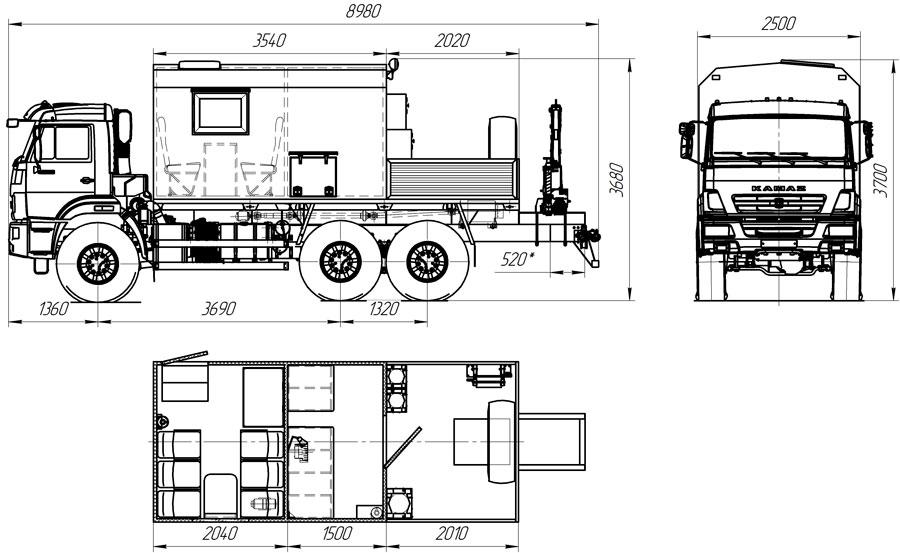 Габаритный чертеж мастерской ПАРМ Камаз 43118-3027-50 с КМУ АНТ 1.8-2 (026)